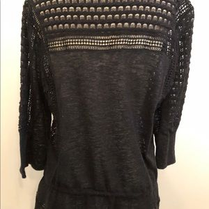 Lucky Brand Tops - Lucky Brand black crochet/eyelet top